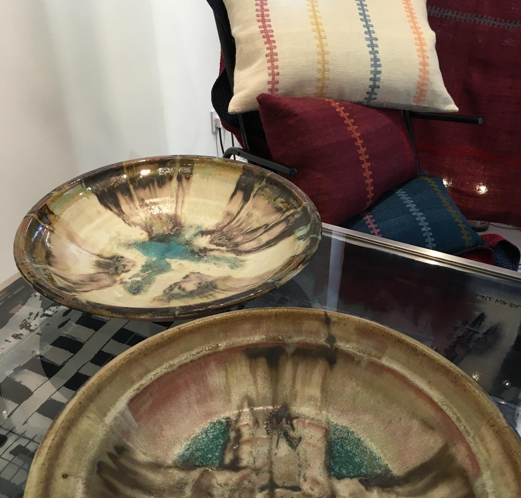 Gary Wood large bowls, Stitch by Stitch Desi wool cushions