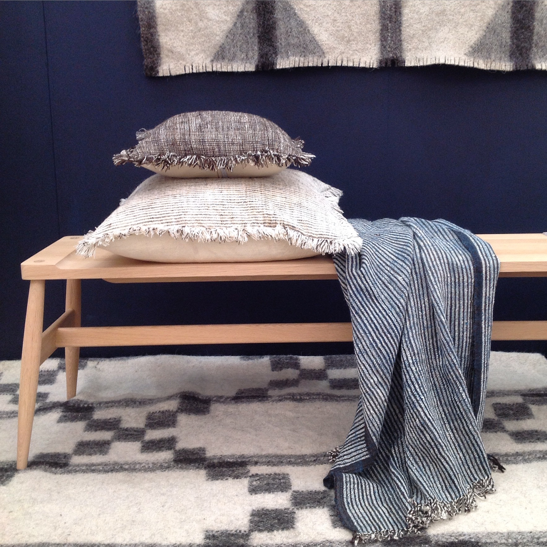 Thank you to the lovely people at  Pinch  for lending us this beautiful oak Imo bench, to display our Desi Naturals cushions.