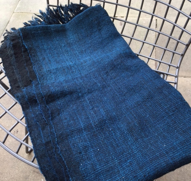 New hand woven, over-dyed indigo desi wool -we'll be introducing cushions and throws in this wool in January. Also available to order by the metre.