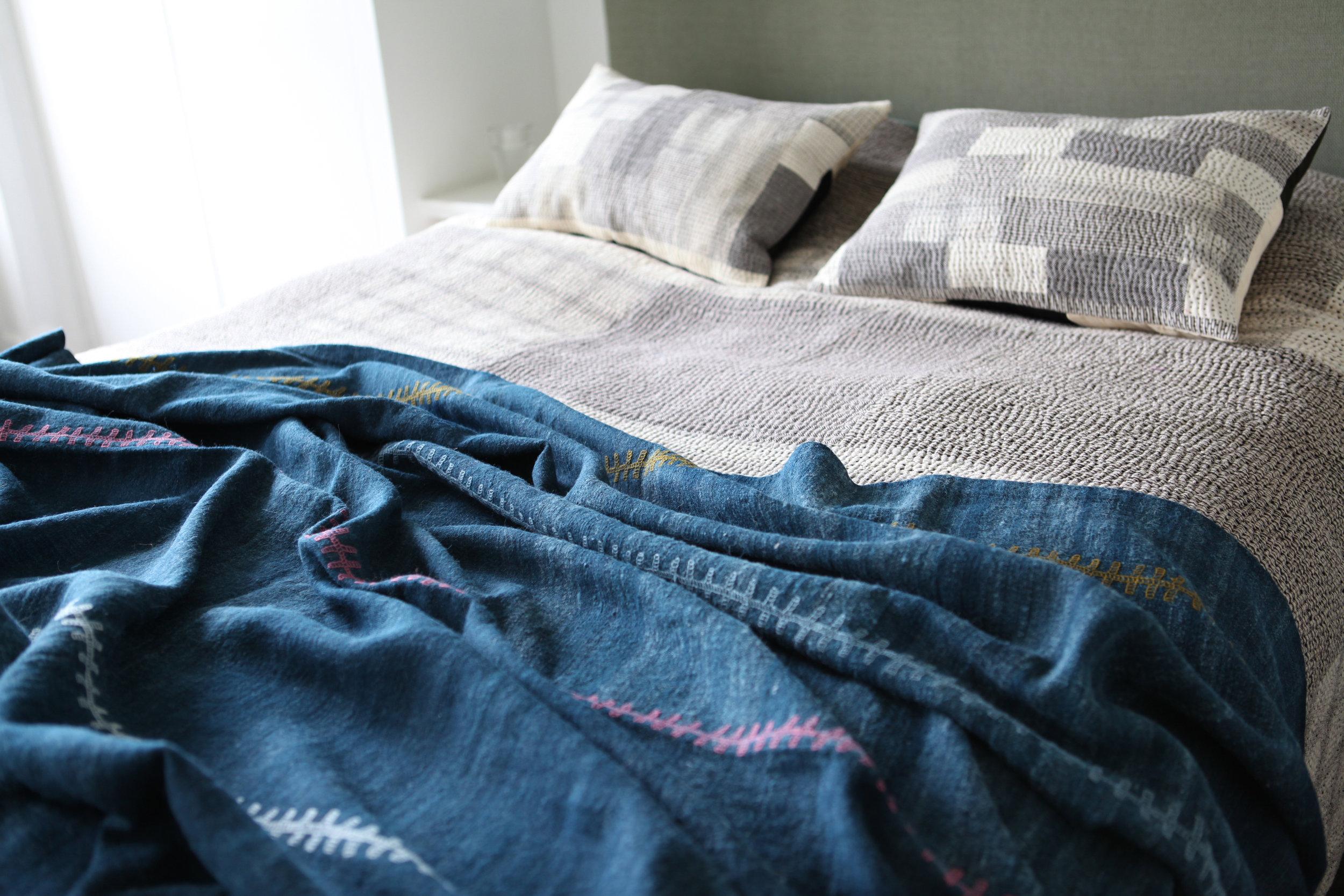 StitchByStitch_handwoven_desi_wool_artisan_bed_throw_indigo_embroidered