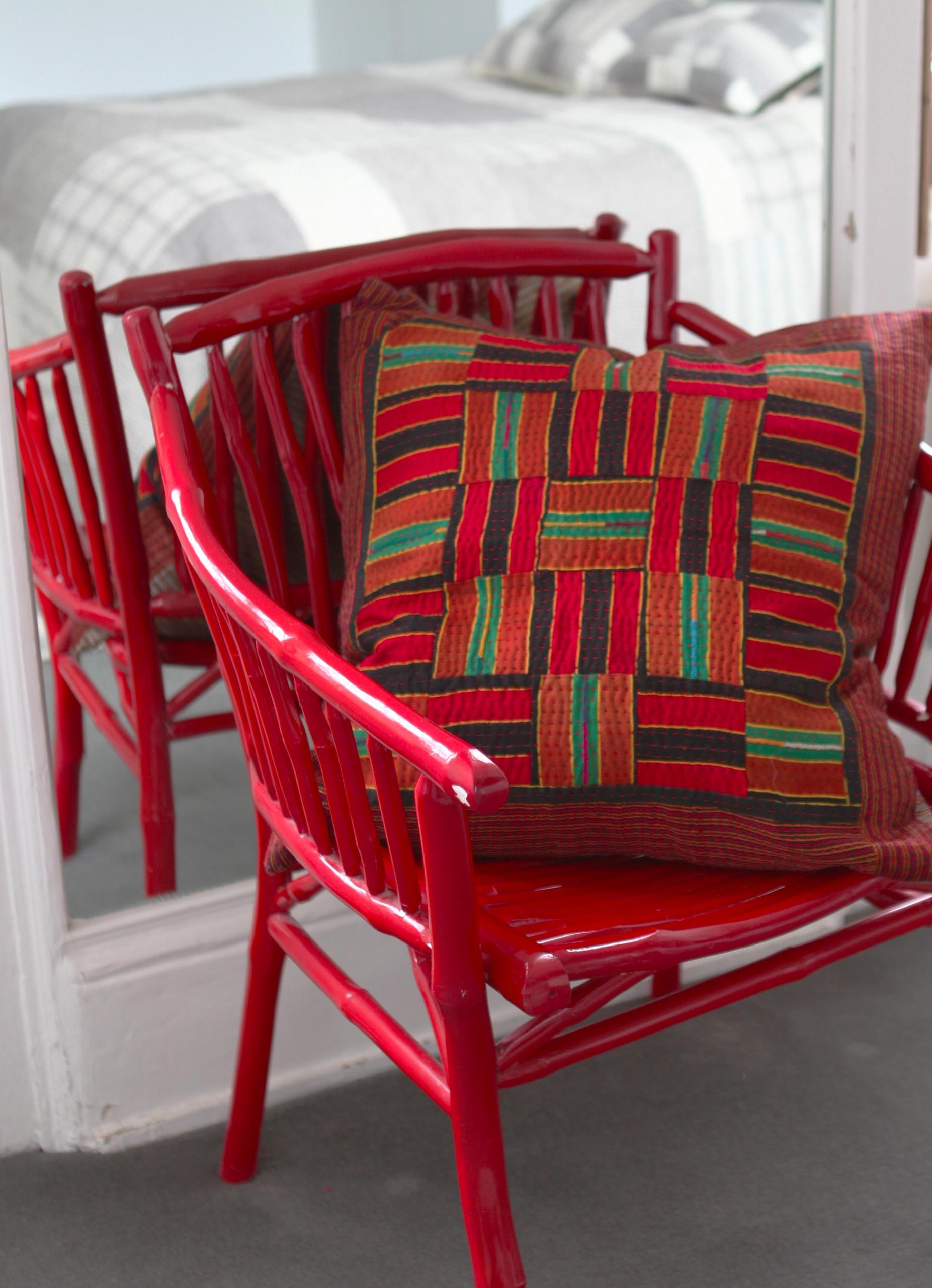 Patchwork Chequered Mashru Silk Cushion