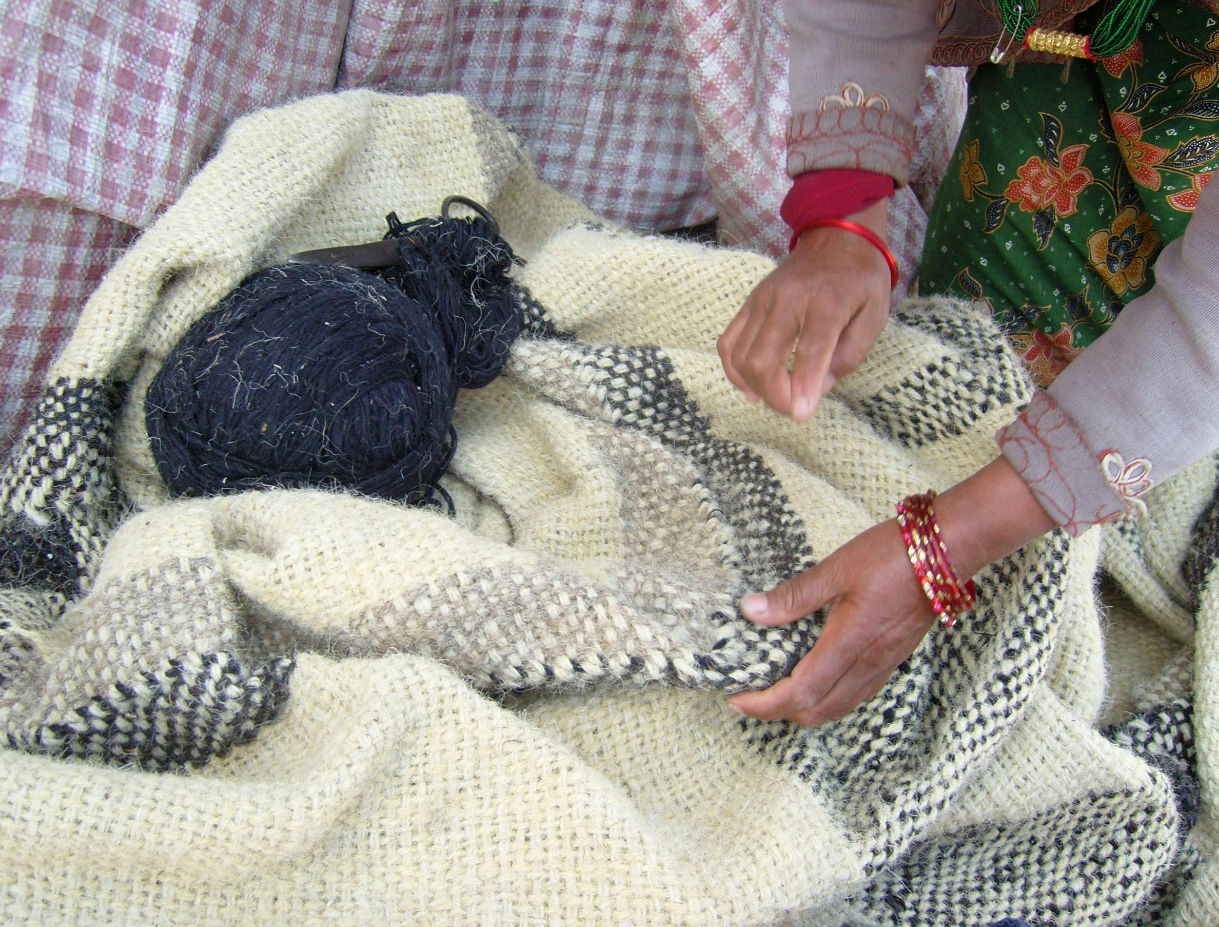 Woven radhi prior to felting