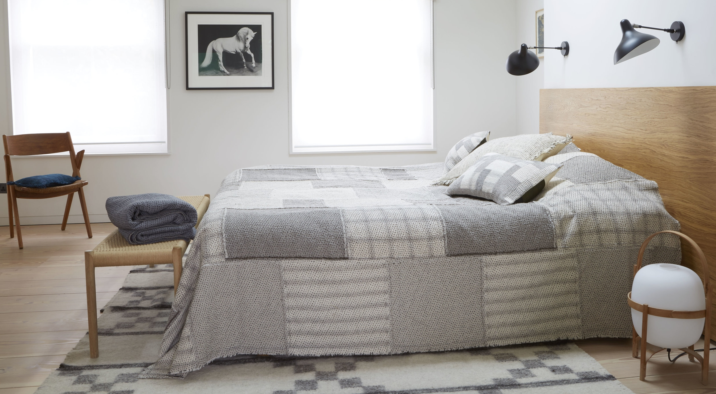 Raw Chindi quilt and cushions in kala cotton.