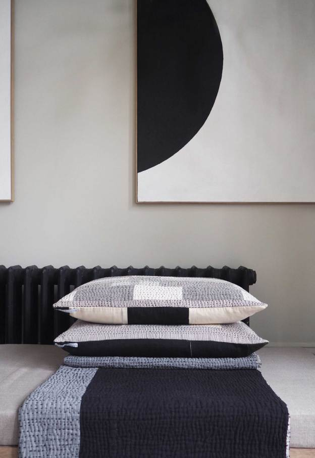 Chindi Quilt and cushions on display at House of Grey. Photo: These Four Walls Blog