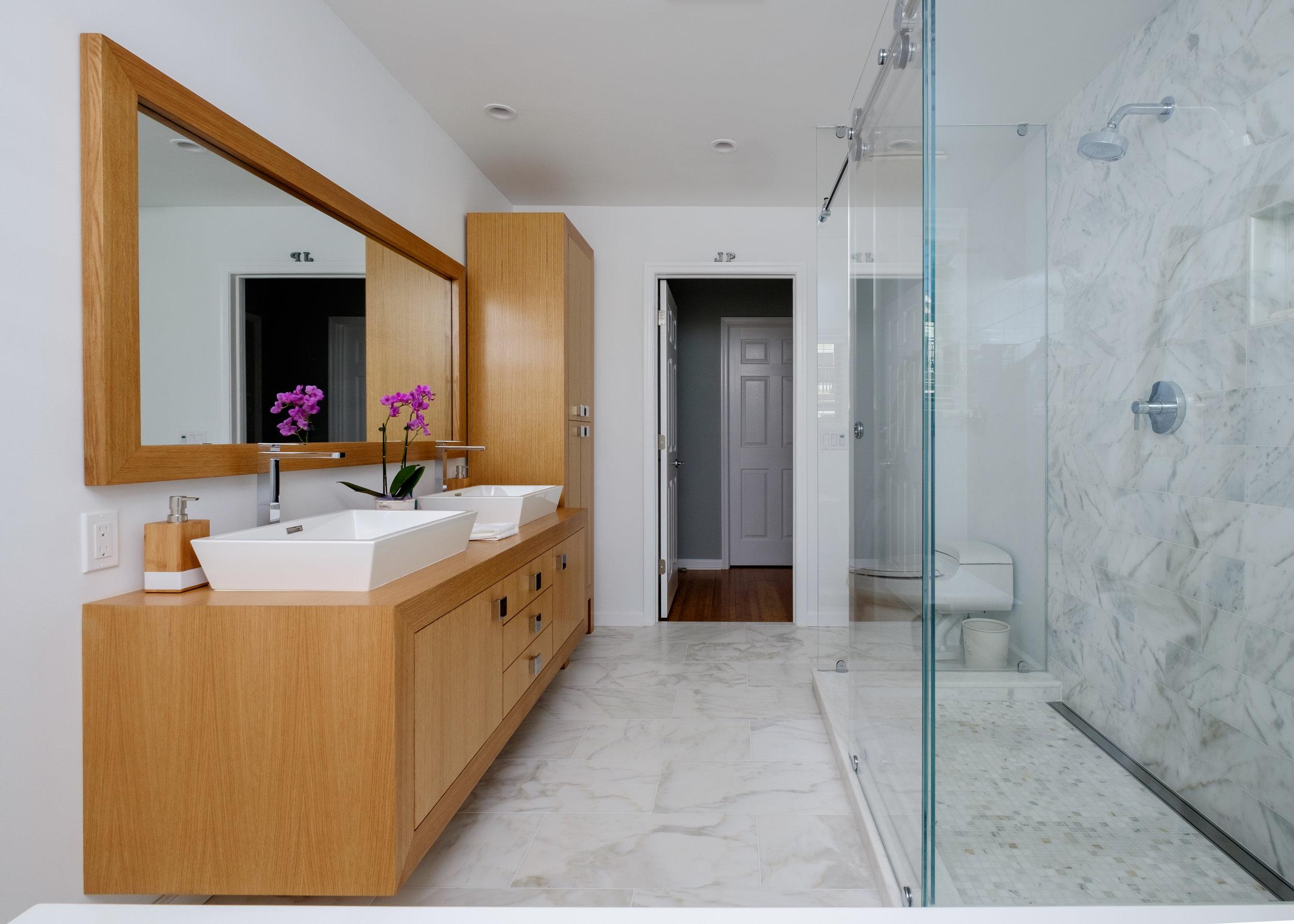Double Vanity and Freestanding Cabinet