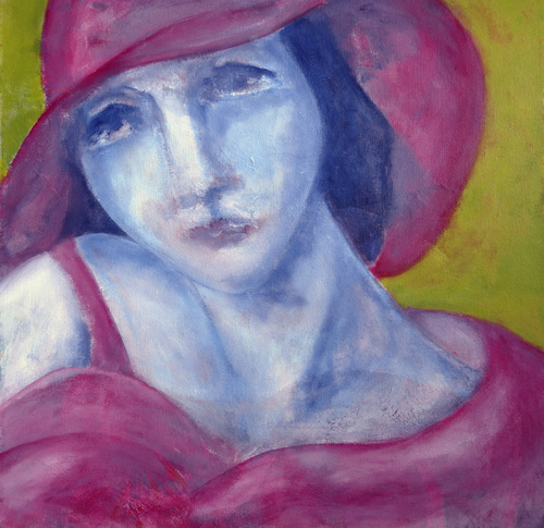 "La dame au chapeau rouge (Woman in a Red Hat), January 2014    20""x20"", acrylics on canvas"