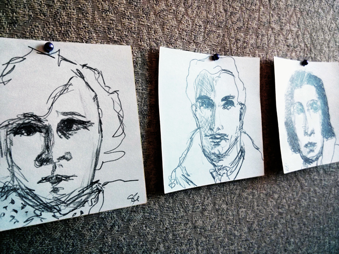 """Sketches from the Cube, mechanical pencil on notepad paper, approx. 2 1/2"""" x 2 1/2"""""""