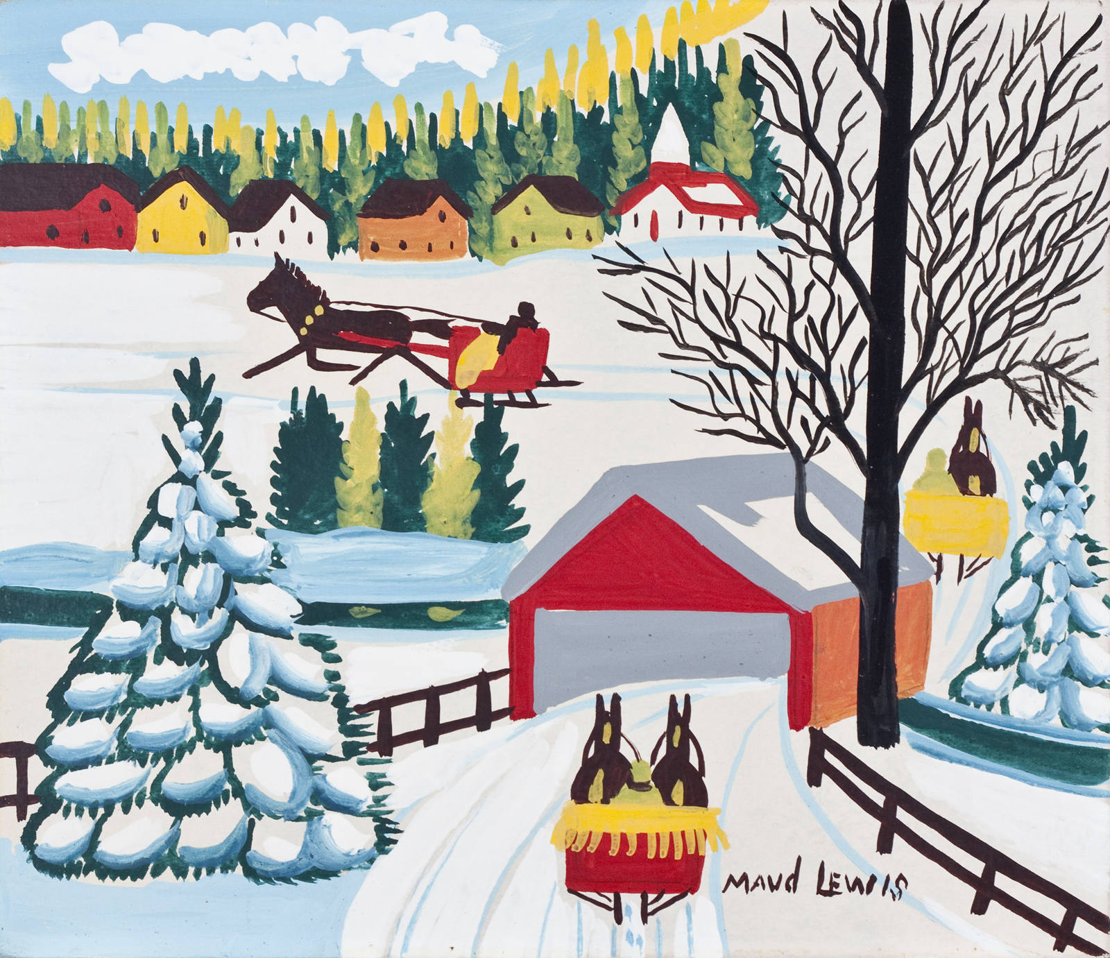 Covered Bridge with Three Sleighs, by Maud Lewis, circa 1965