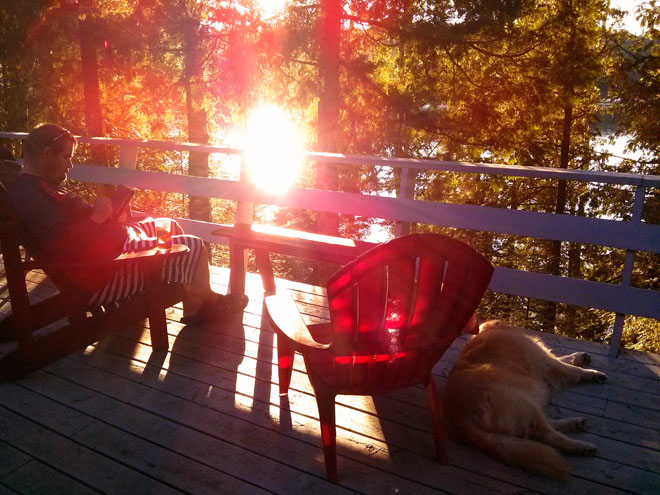 My loves chillin' on the deck post-dinner sometime earlier this week. I've lost track of time. Cottages do that.