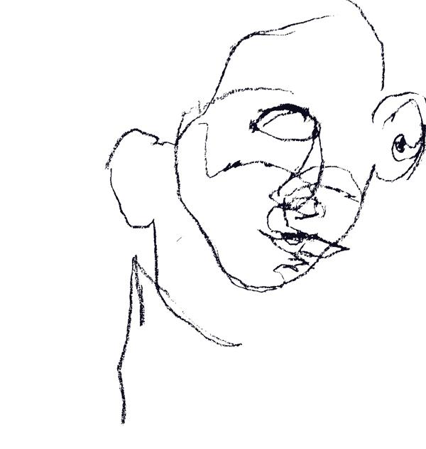 Blind contour self-portrait