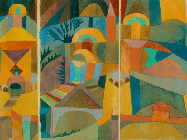 "Temple Gardens, 1920, by Paul Klee. Klee cut his original watercolour into three sections and moved the centre one to the left. NOTE: This piece also floored me with its size - about 7""x10"". I thought it would be much bigger."