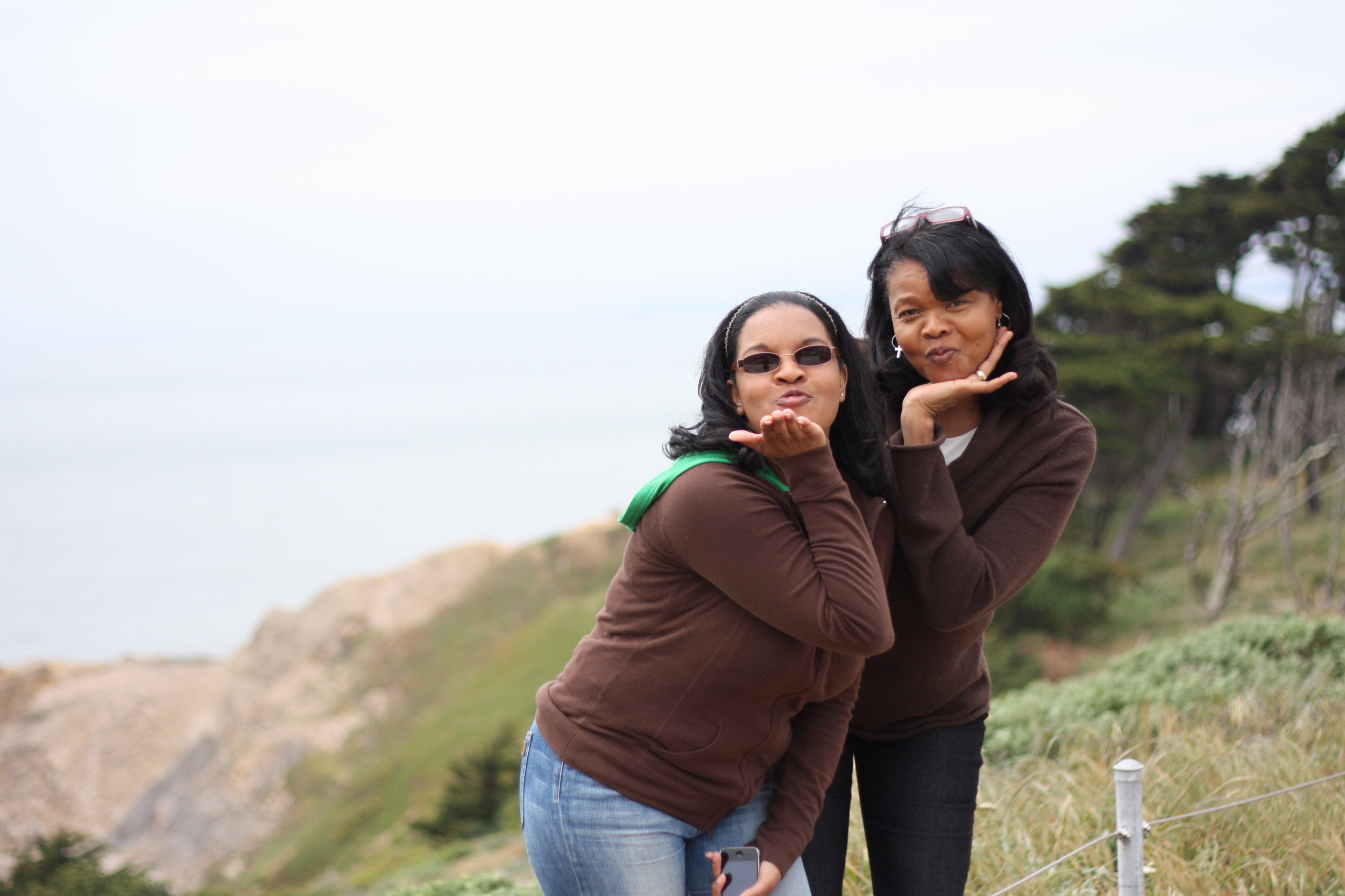 My mom & I being silly at San Francisco's Land's End Lookout above Sutro Baths