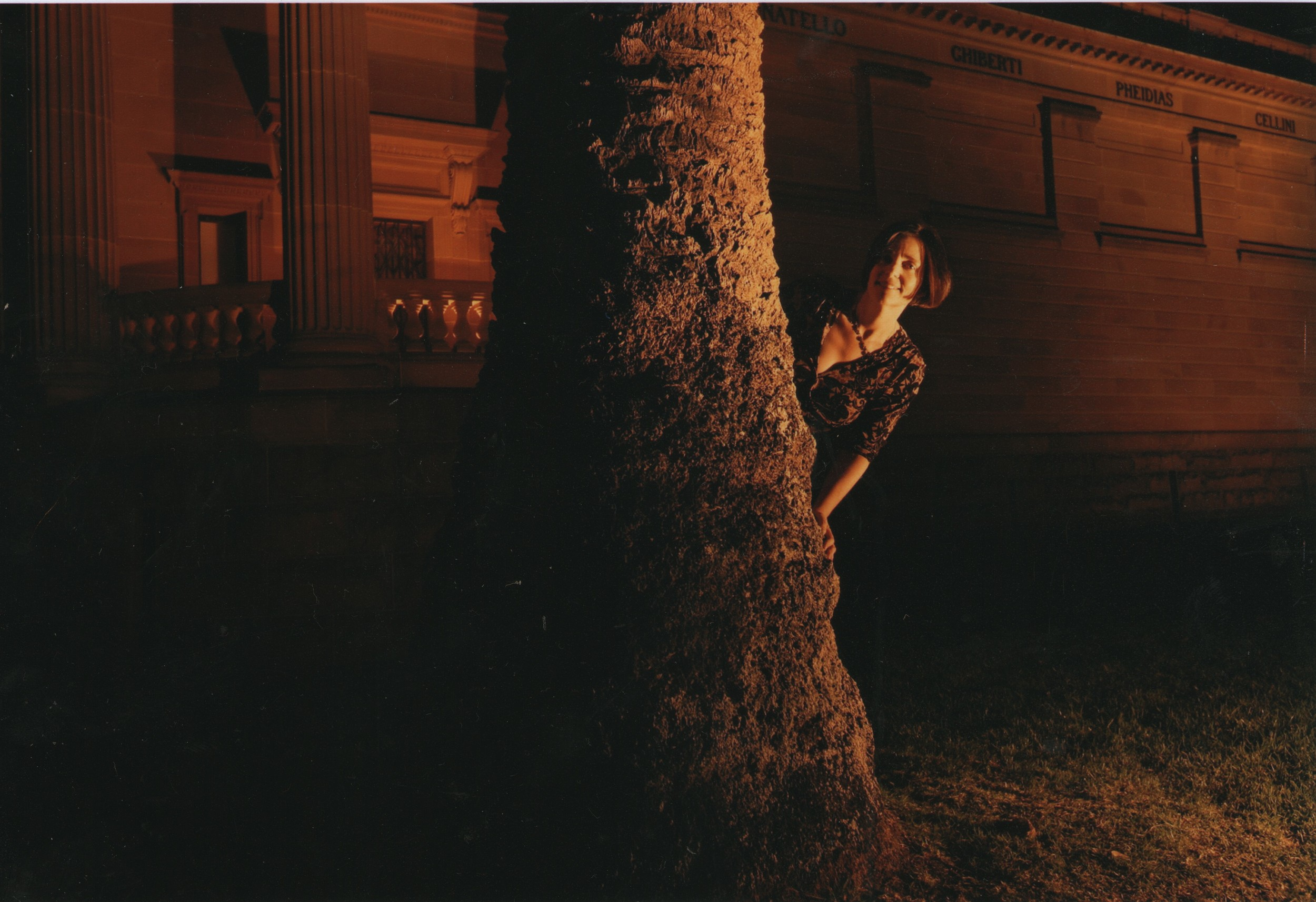 Hiding behind a tree at the NSW Literary Awards 2007