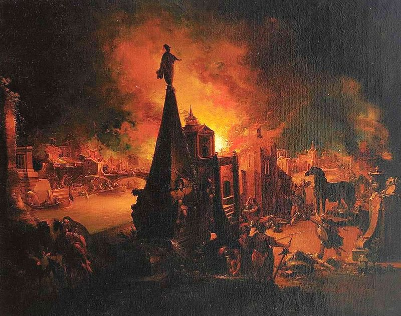 The city of Troy set on flames by the Greek army who entered unseen, hidden in the famous wooden horse