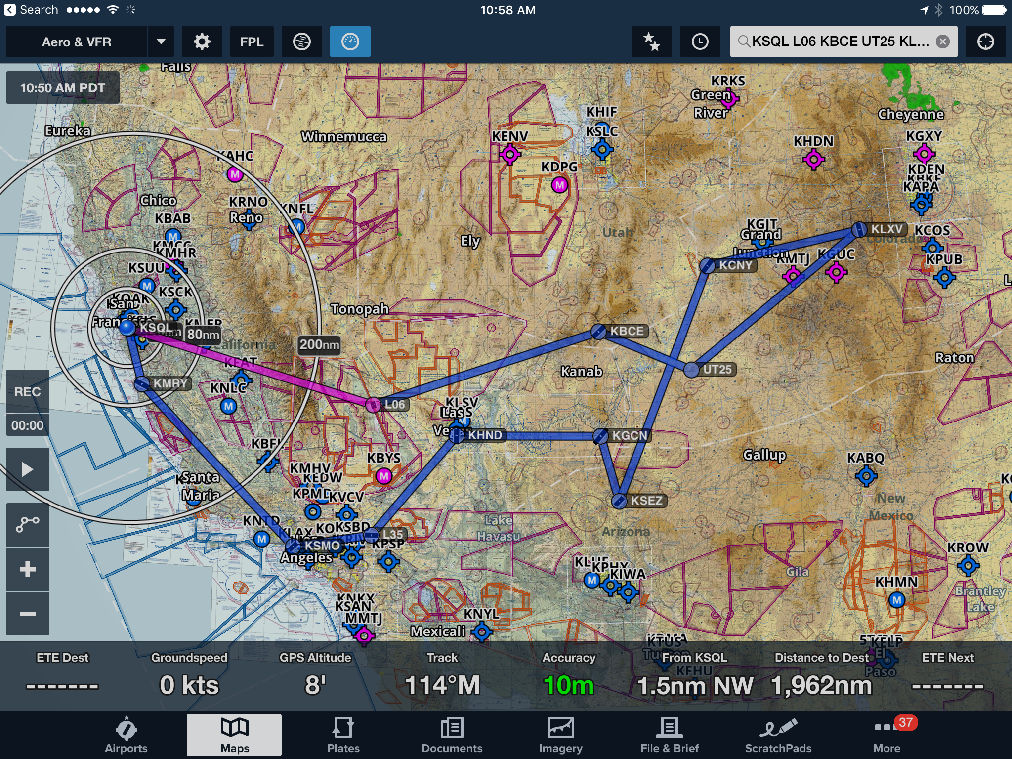 The Southwest Cirrus Tour started from San Carlos and included stops in Death Valley, Bryce Canyon, Monument Valley, Sedona, Grand Canyon, Bar Ten, Las Vegas, Big Bear, Santa Monica, Monterey Bay and back to San Carlos.
