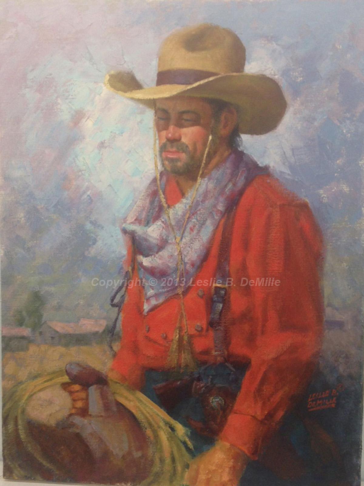 """Cowboy   Original Oil.Unframed. 24"""" X 18"""" $2,400"""