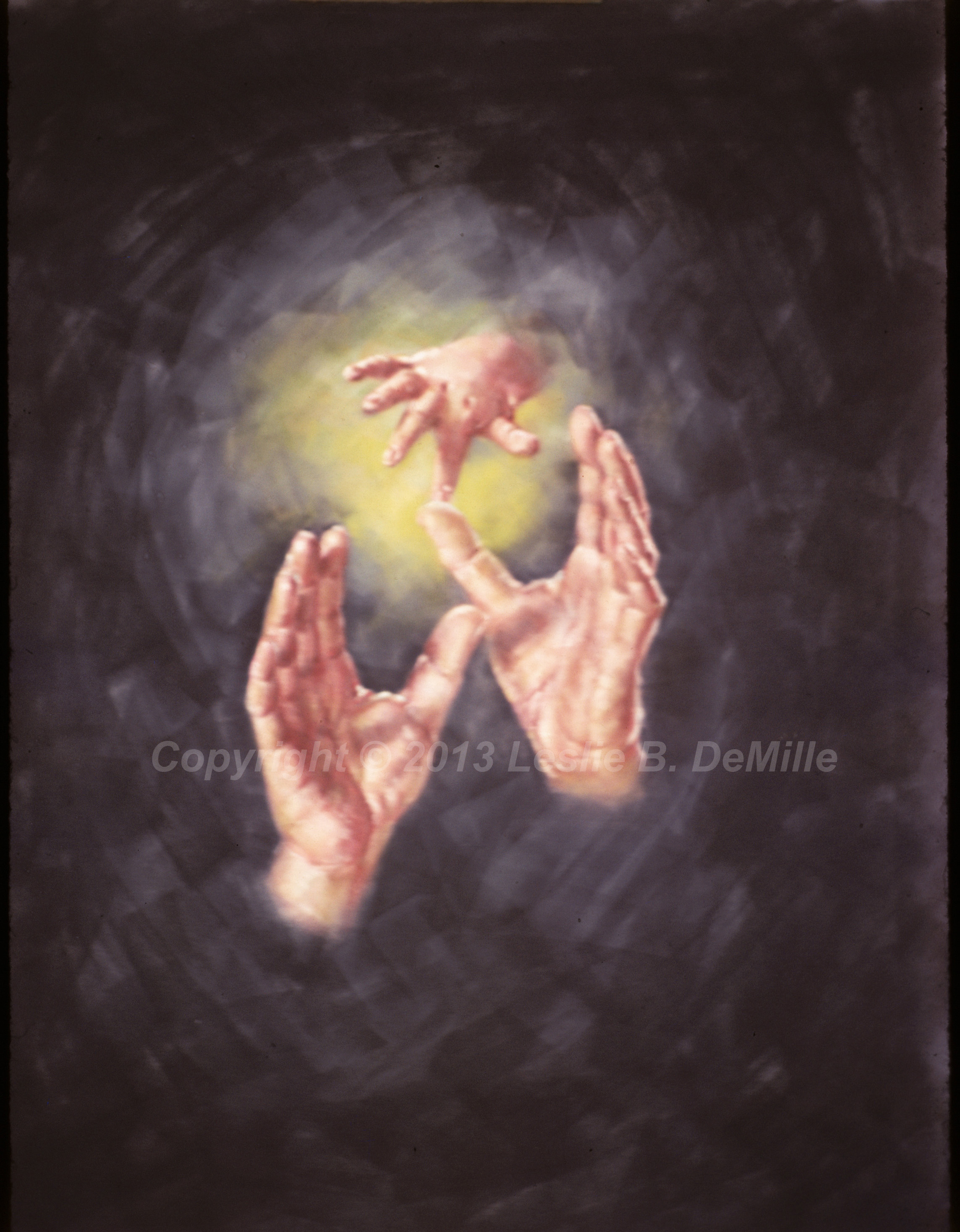 Supporting Hands, Pastel (11x14)
