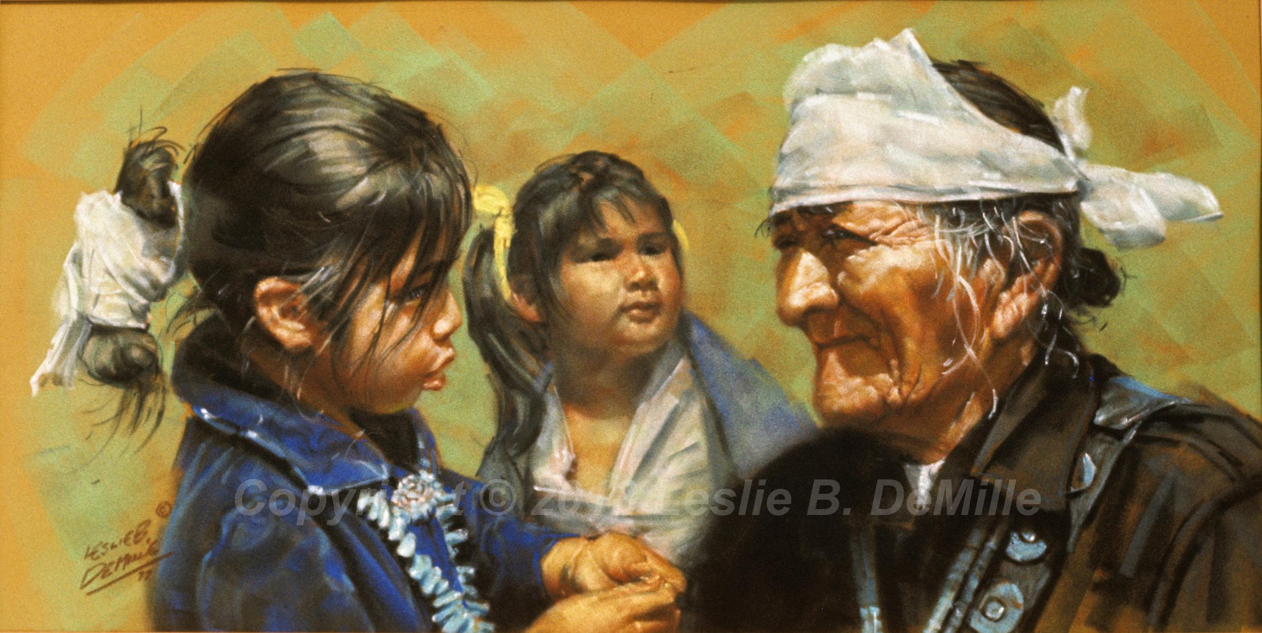 Medicine Man with Children, Pastel (20x10)