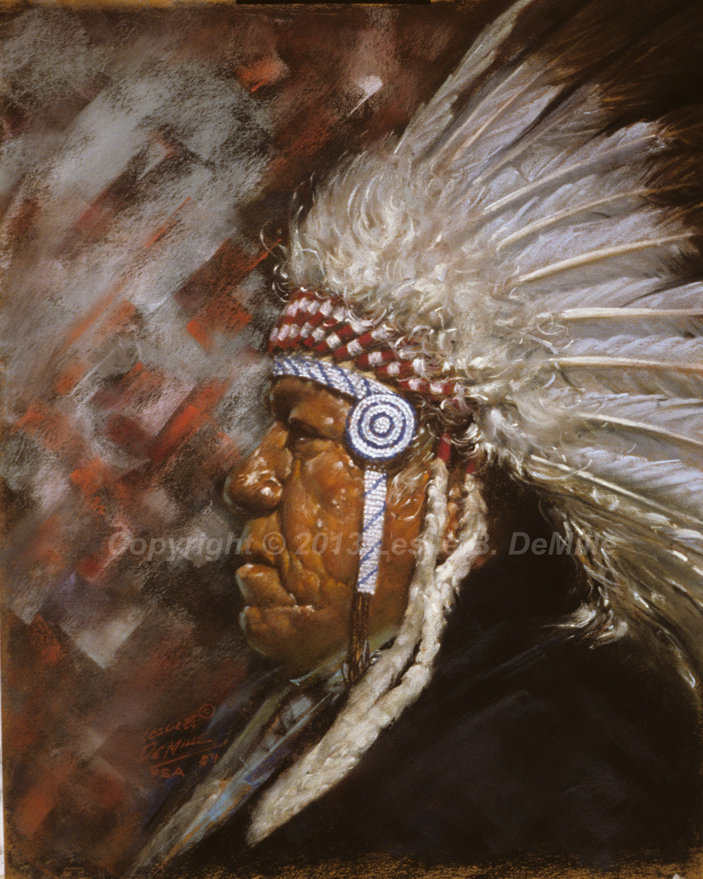 Navajo Chief, Pastel 1984 (11x14)