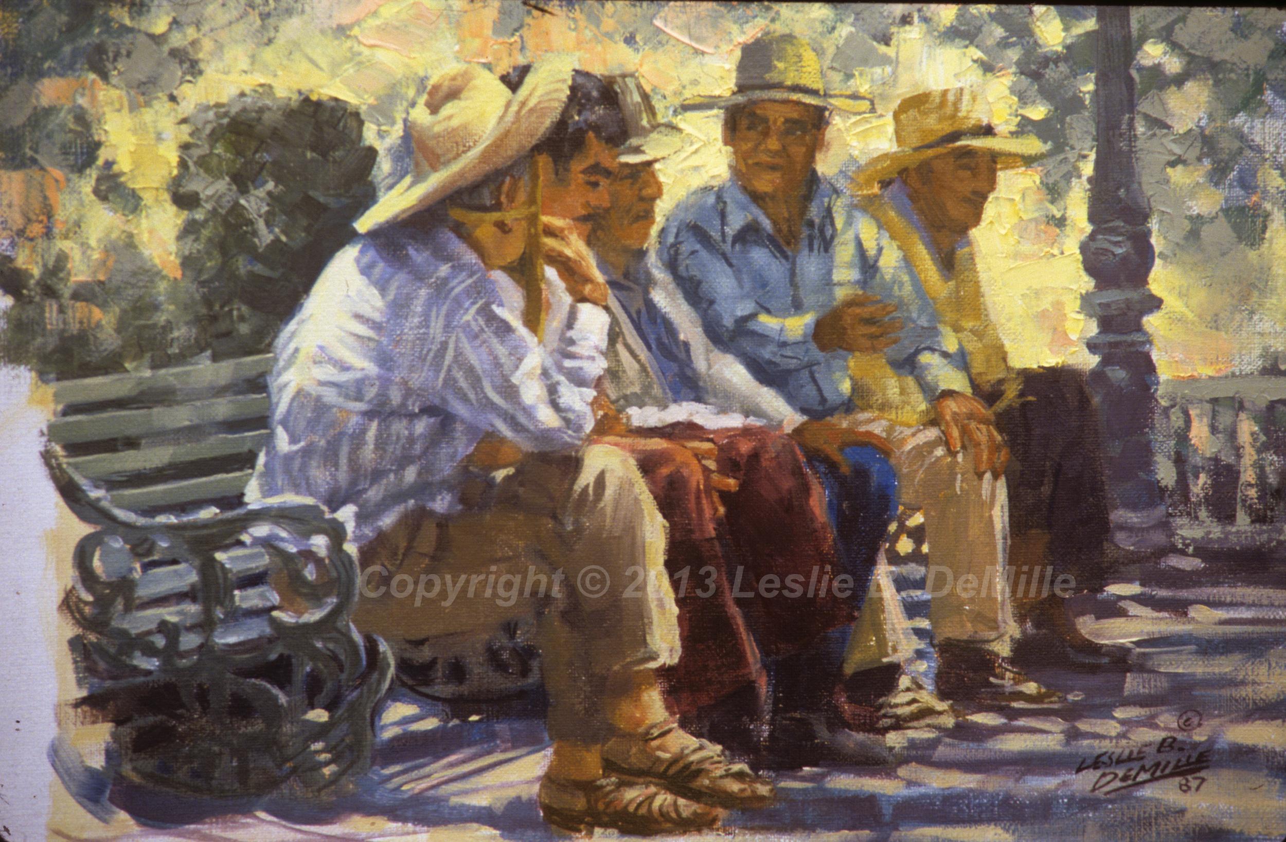 Men on Bench, Oil 1987 (16x11)