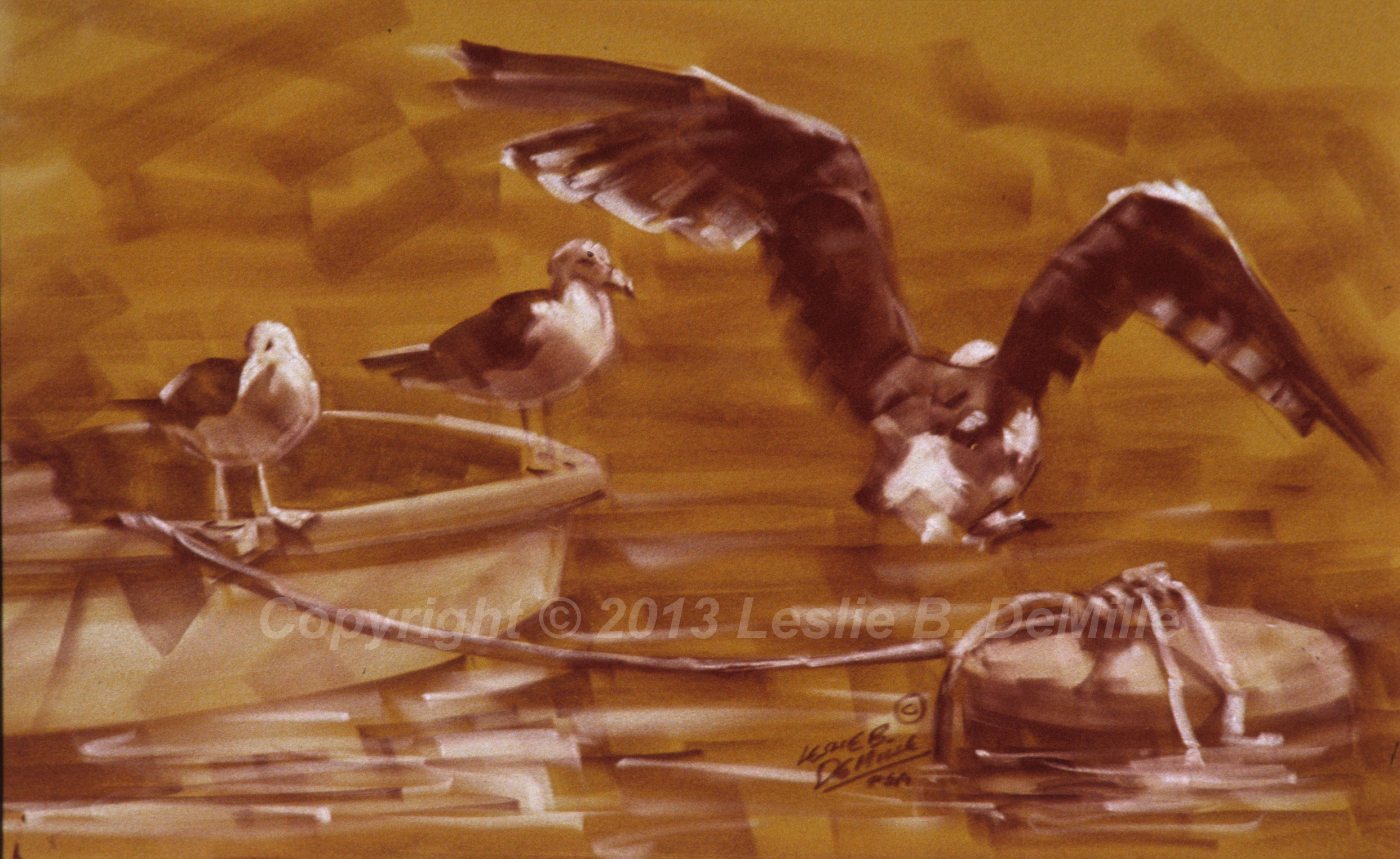 Seagulls on the Boat, Sepia 1985 (16x10)