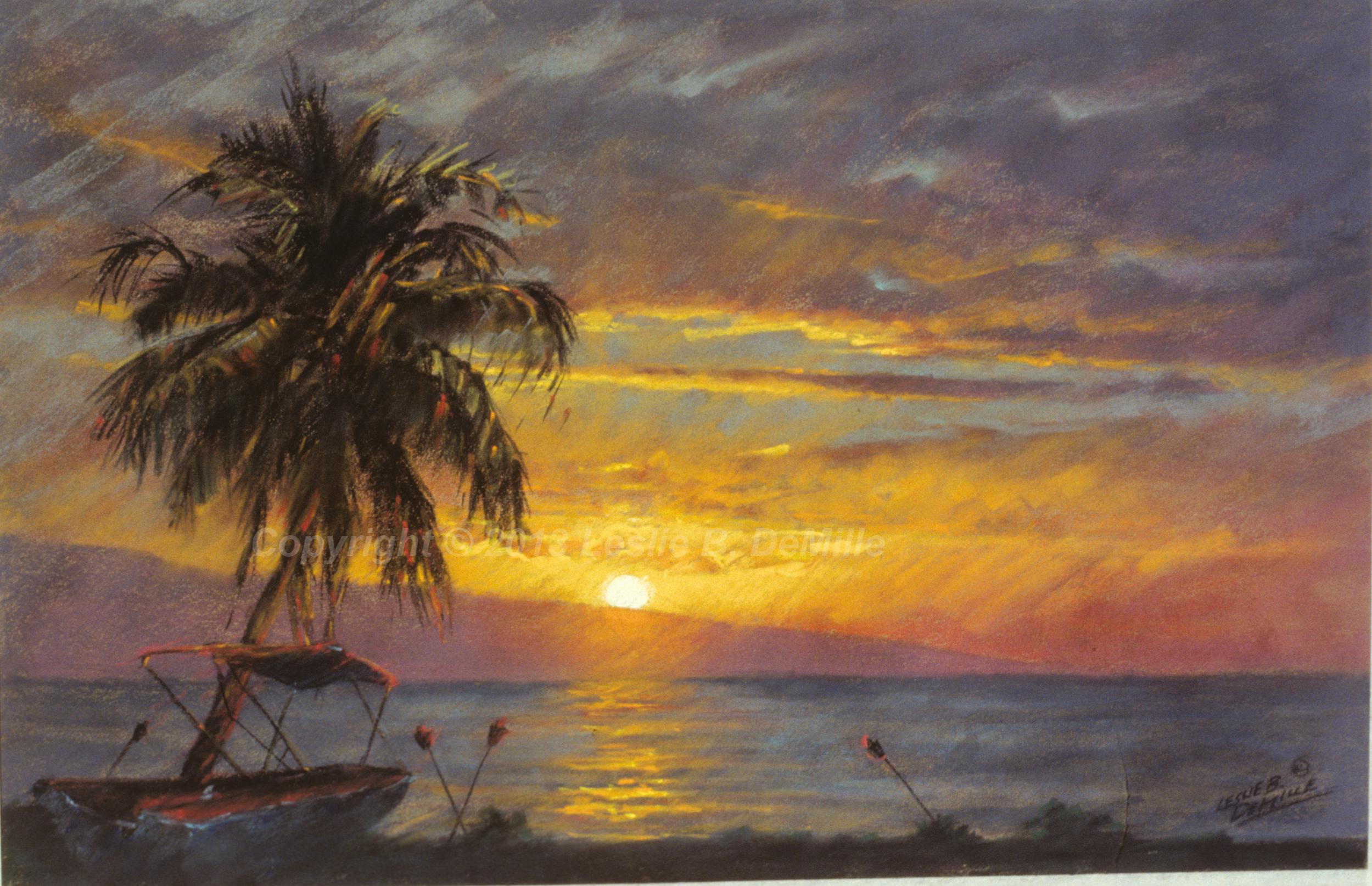Lanai Sunset, Pastel (18x12)