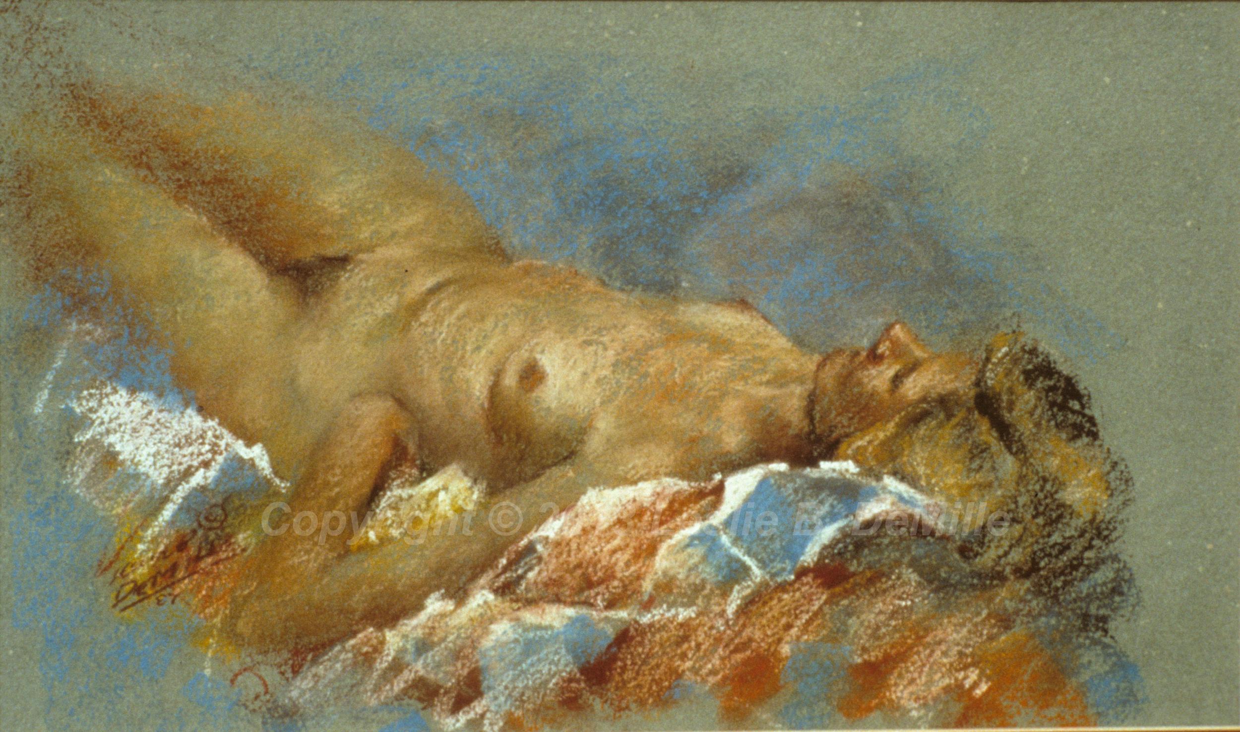 Nude Lying Down, Pastel 1987 (16x11)