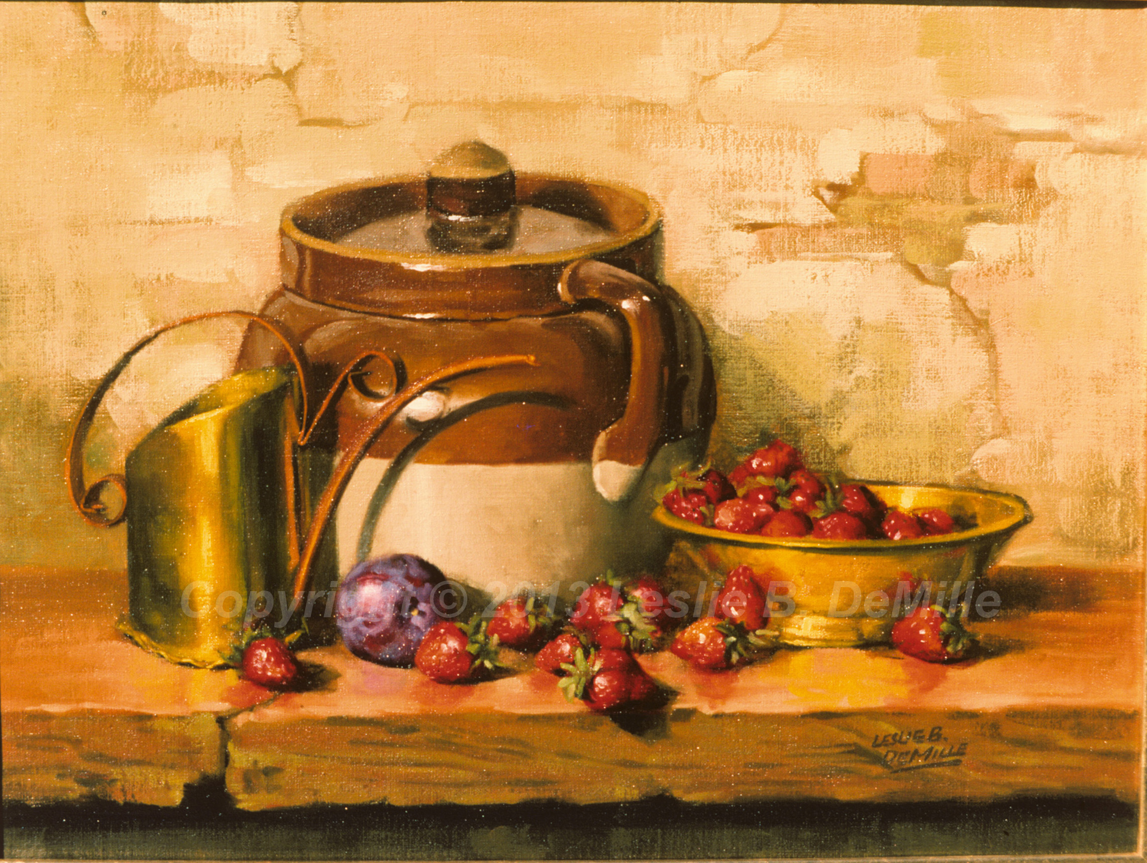 Still Life with Strawberries, Oil (16x11)