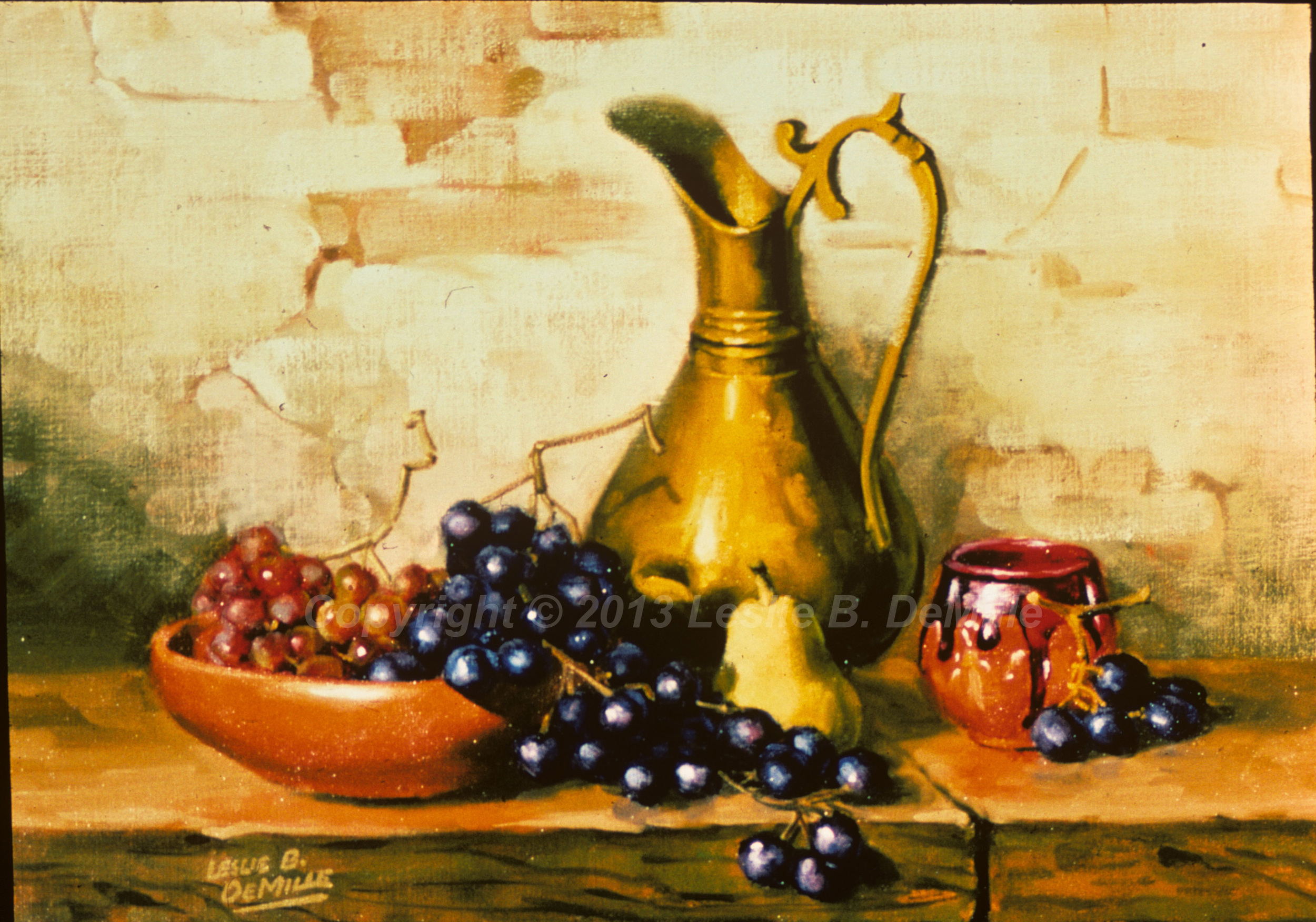 Still Life with Grapes, Oil (16x11)