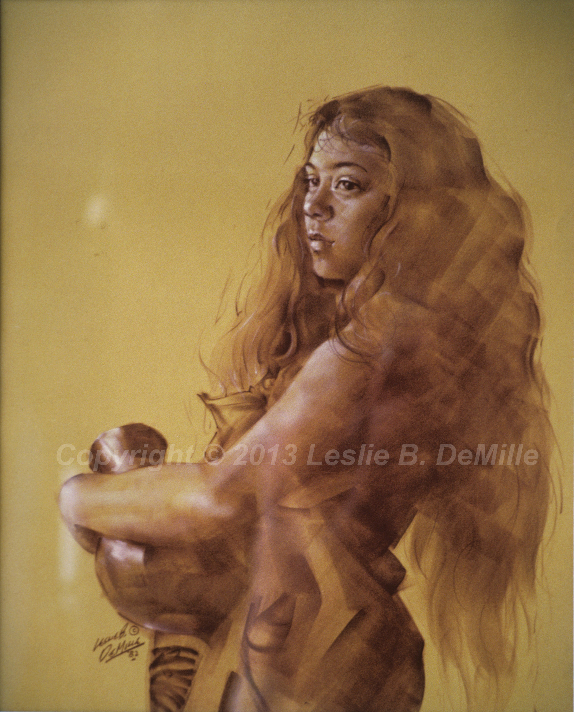 Nude with Urn, Pastel 1982 (11x14)