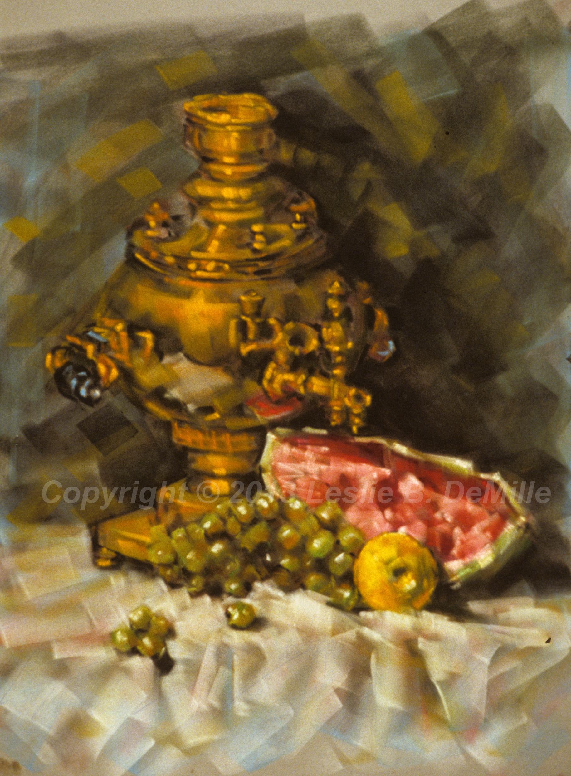Samovar & Watermelon, Oil 1987 (12x16)