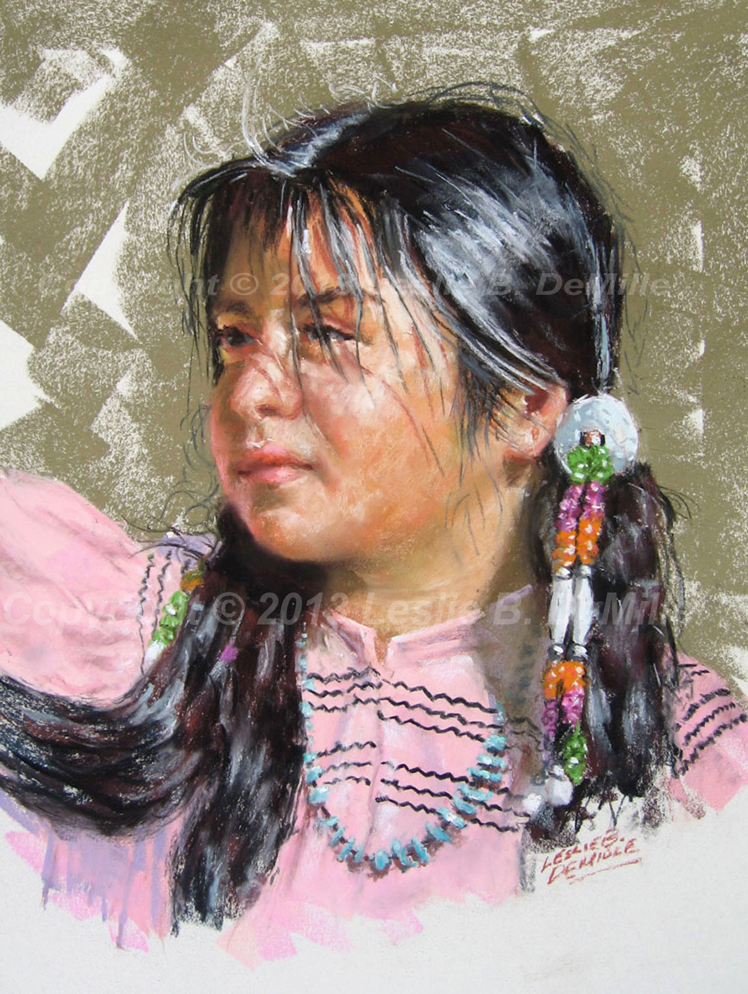 Indian Girl in Pink, Pastel (11x14)