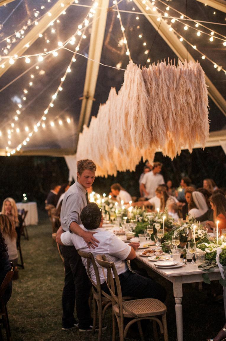 pampas grass chandelier