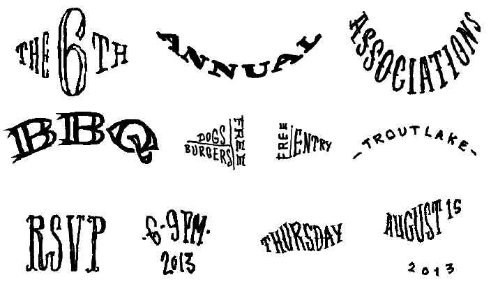 Roughly drawn type elements. Eventually will be painted with BBQ sauce.