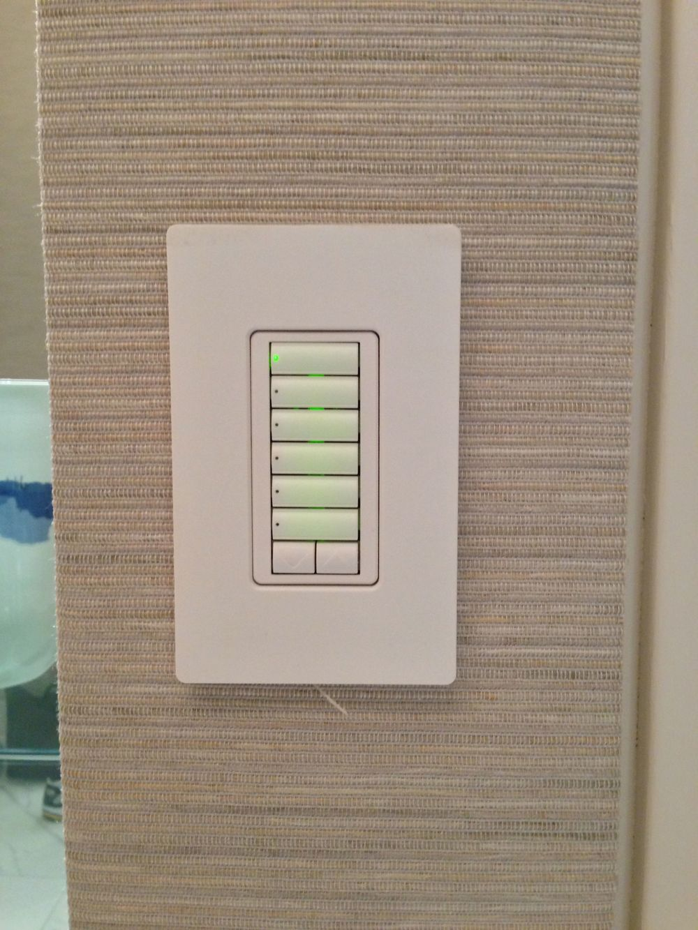 The Lutron Homeworks QS system provides lighting control via keypads throughout the residence.