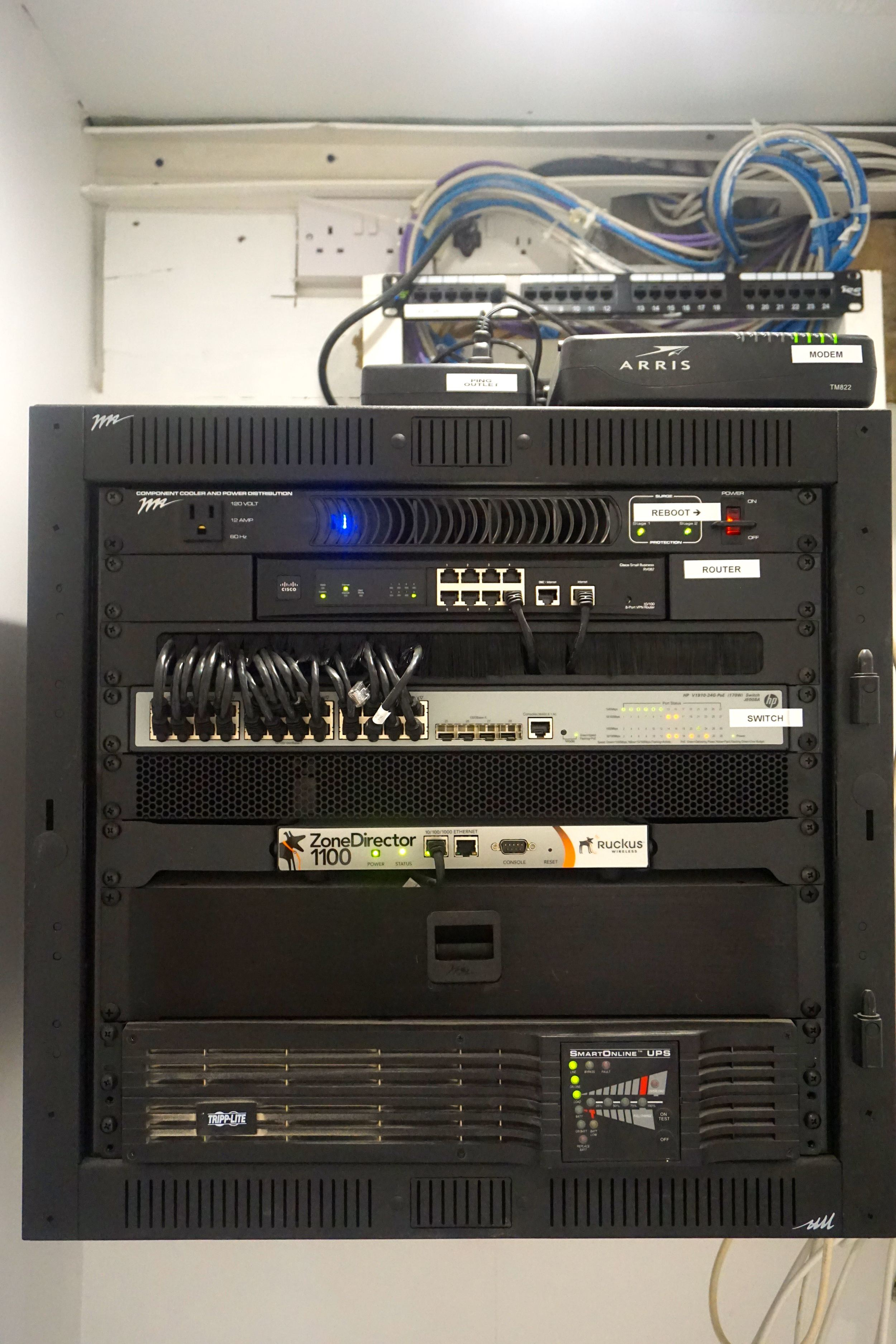 A central rack controls all the technology in the home.