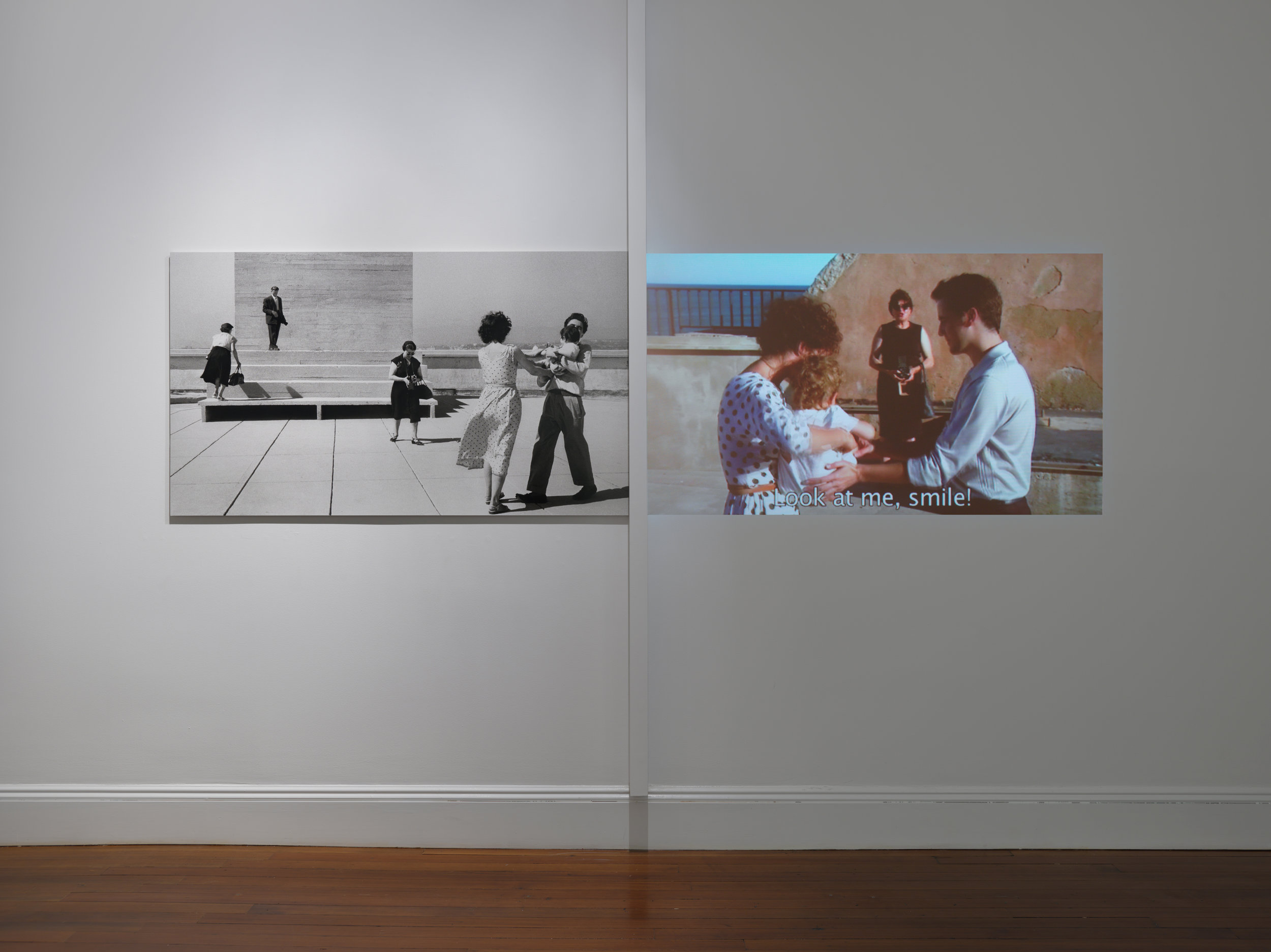 La terrasse, 2012. This installation includes a photo print and video frame, side by side, in the same dimensions. Users can listen to the audio using wireless headphones. Agnes Varda, Installation view, 2017 Blum & Poe, New York Photo: Genevieve Hanson Courtesy of the artist and Blum & Poe, Los Angeles/New York/Tokyo