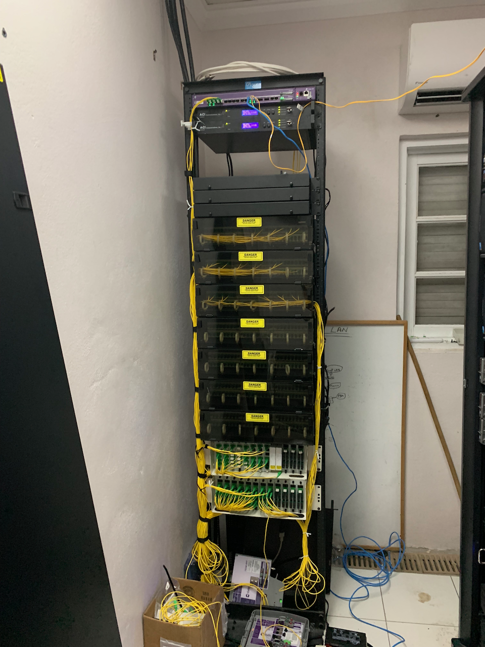 The GPON Fiber Optic system is designed so all Guest Rooms are available for cross connection in one room - this allows quick 'hotswap' to alternate cable paths in case of signal issues.