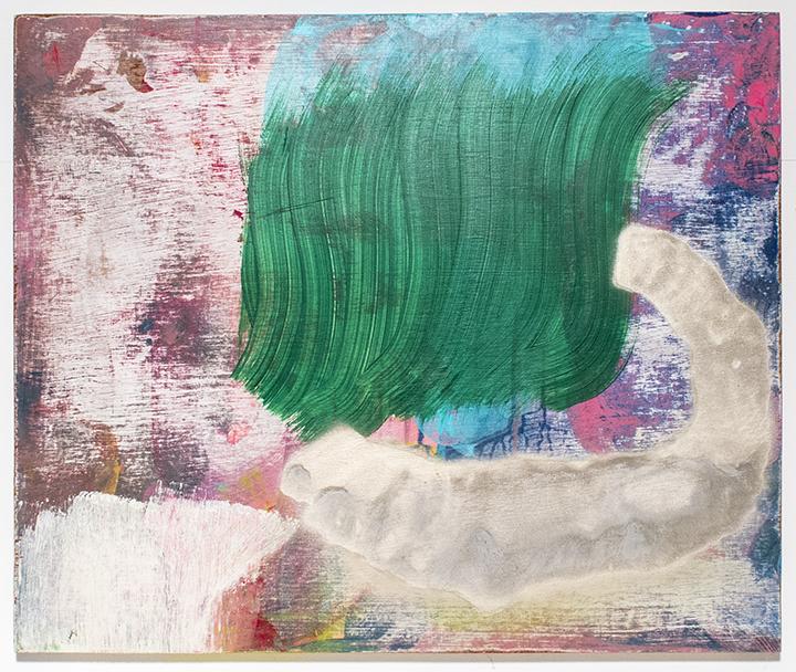 "Pin The Jelly , 2013, acrylic and spray paint on panel, 20""x24"", POR"