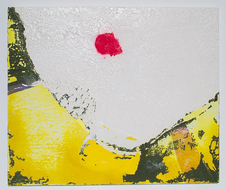 "Splotch , 2013, acrylic and spray paint on panel, 20""x24"", POR"