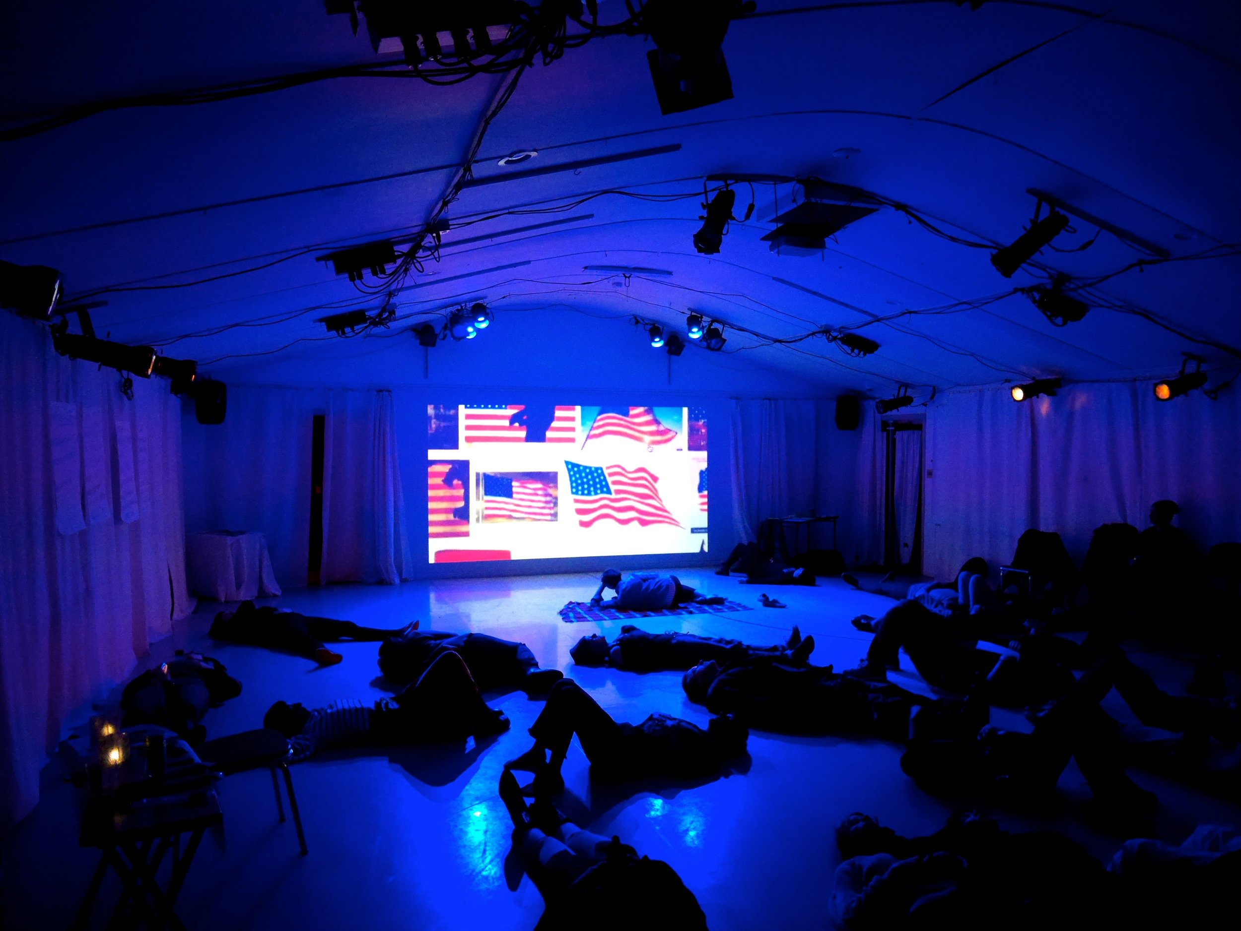 Performance (screening of video and words below) by Felicity Fenton – Photo by Kate Bredeson