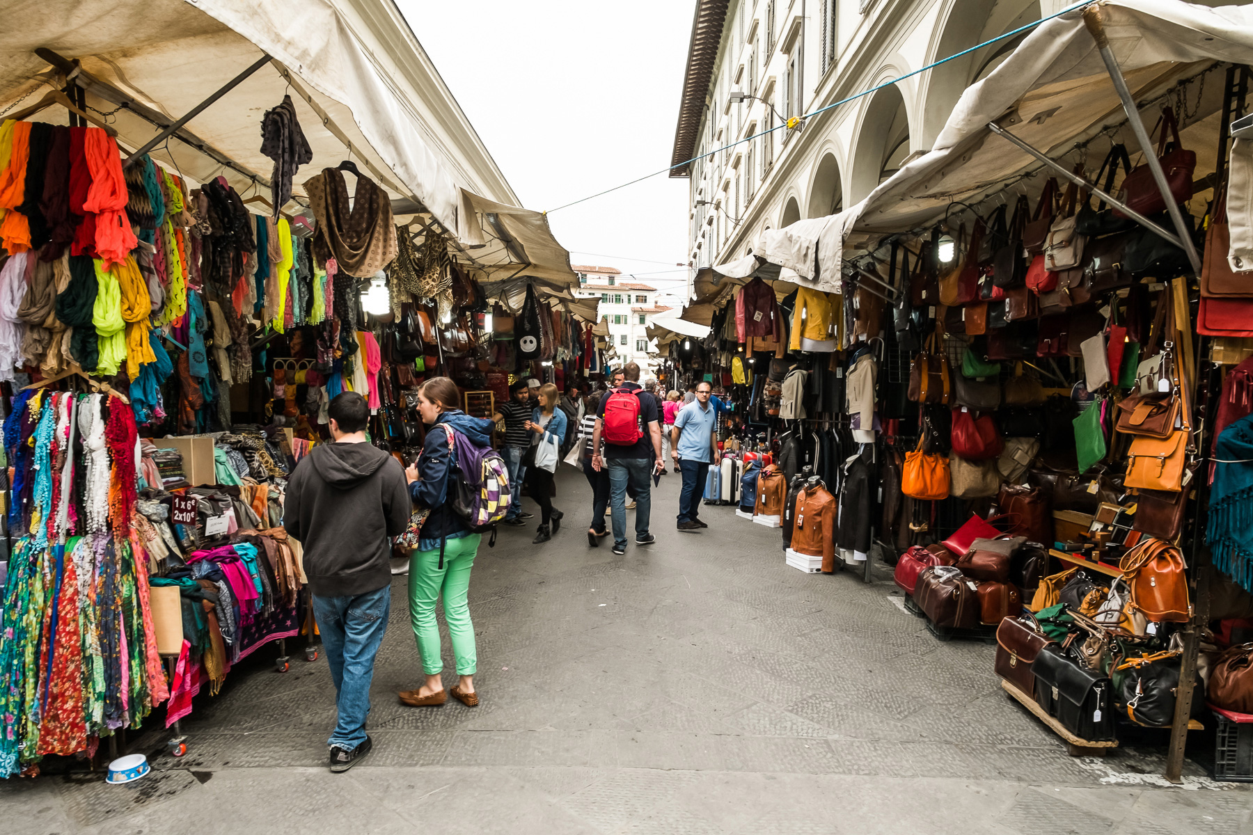 Rows of leather and clothing vendors lined the streets just outside Florence's Mercato Centrale.