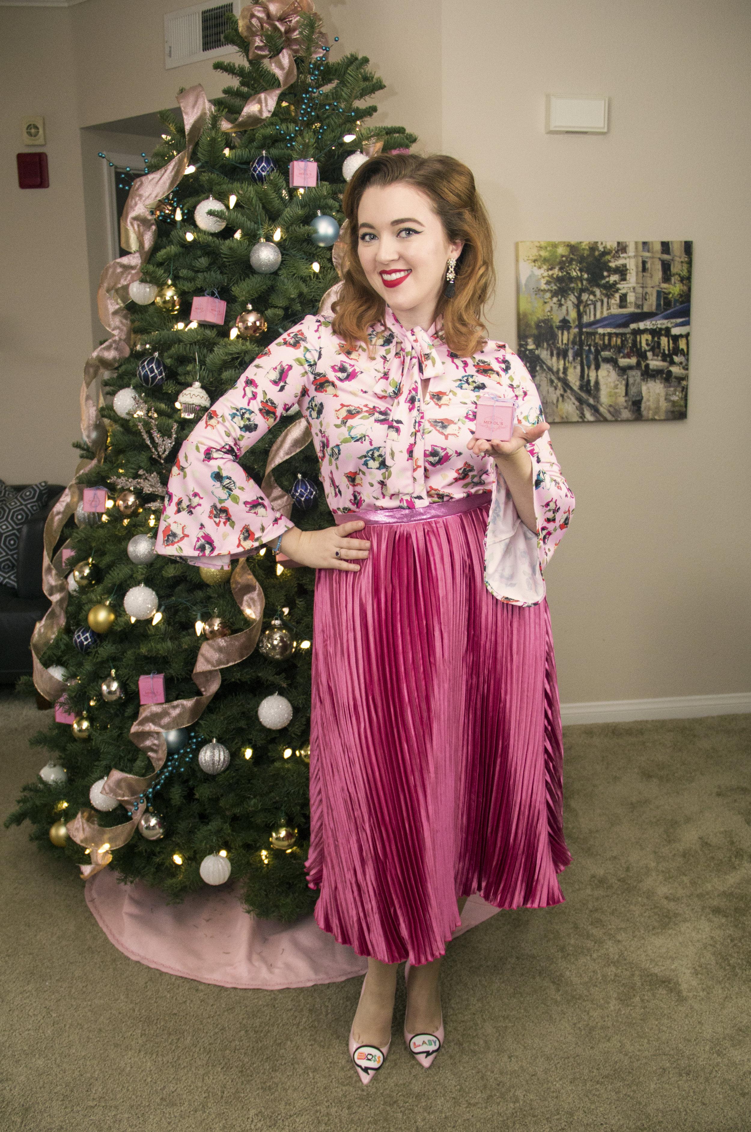 "Top & Skirt : Nikki Marie Fall / Winter 2017  Shoes:  Sophia Webster ""Boss Lady Pumps"""
