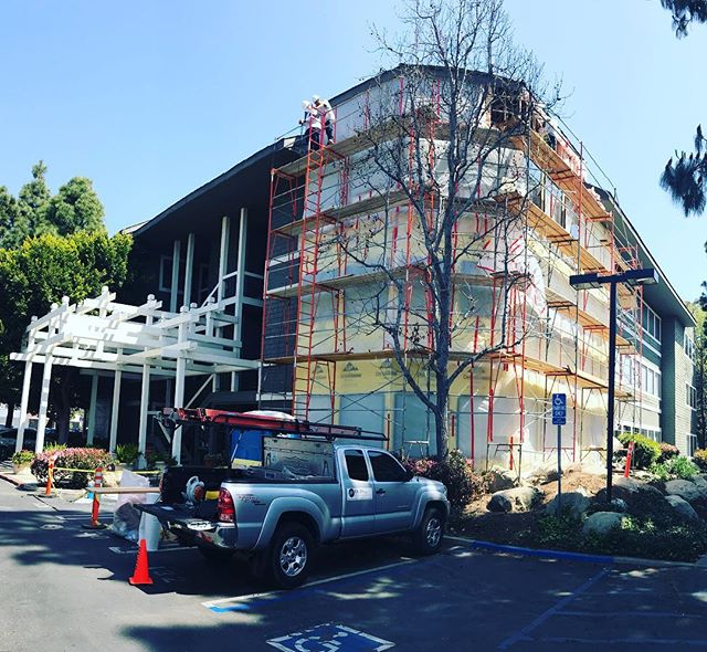 Making great headway on this multi-unit complex. Installing insulation 5 stories up isn't so bad on a day like this!