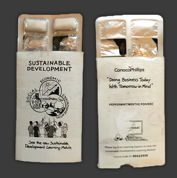Conocophillips brilliantly created CPSD gum packs for their employees. Great way to get the conversation started!