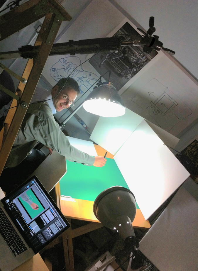 This was the setup for capturing the hand. Green screening the hand worked great!