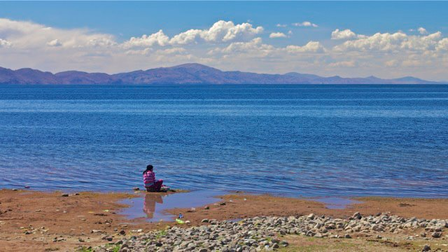 Vista del lago Titicaca desde la isla de Amantaní.