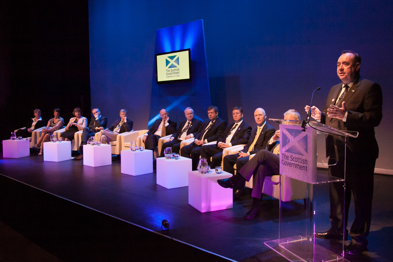First Minister Alex Salmond in Shetland for Scottish Cabinet visit.