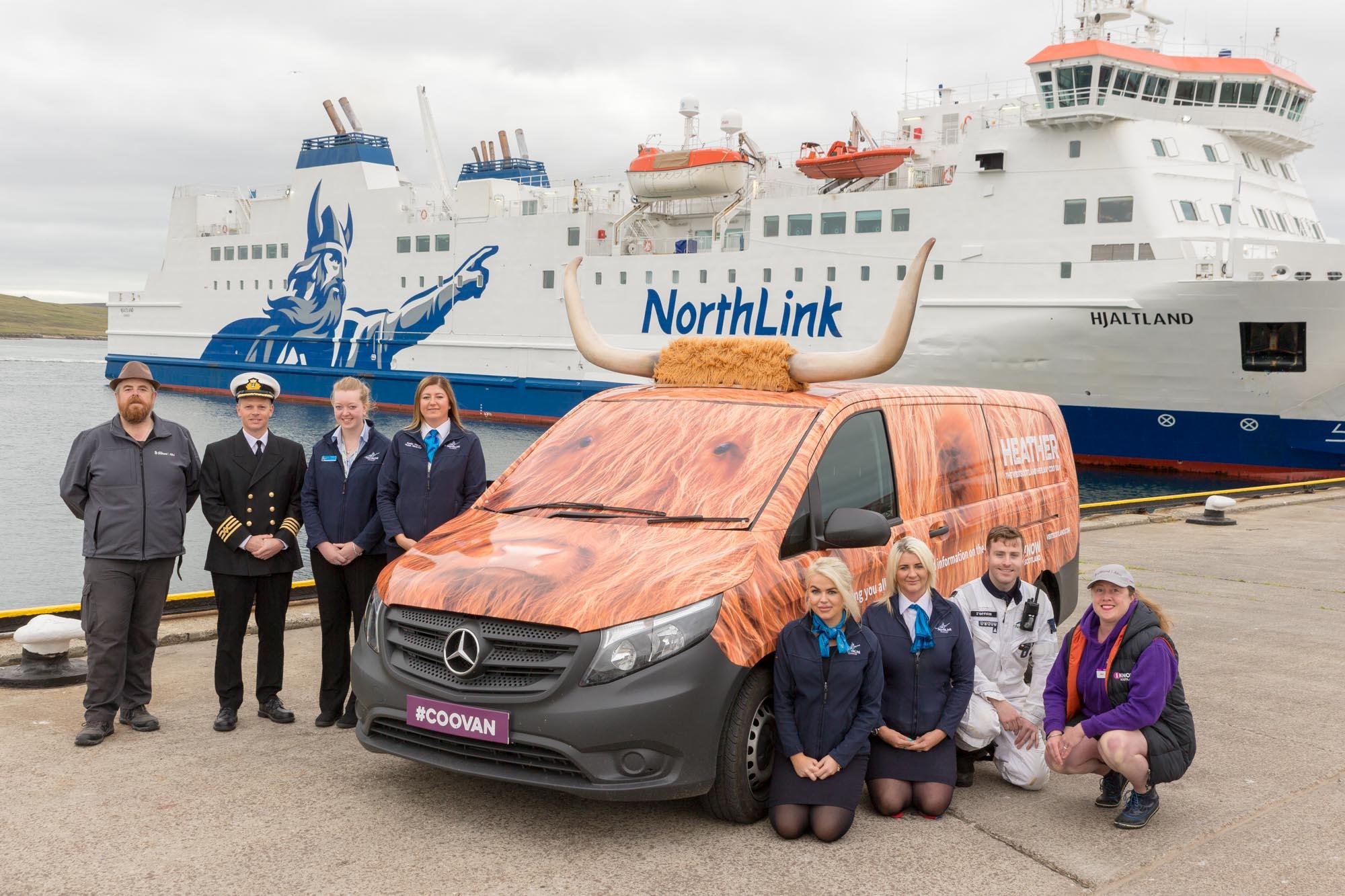 Visit Scotland Coo Van 'Heather' arrives in Shetland