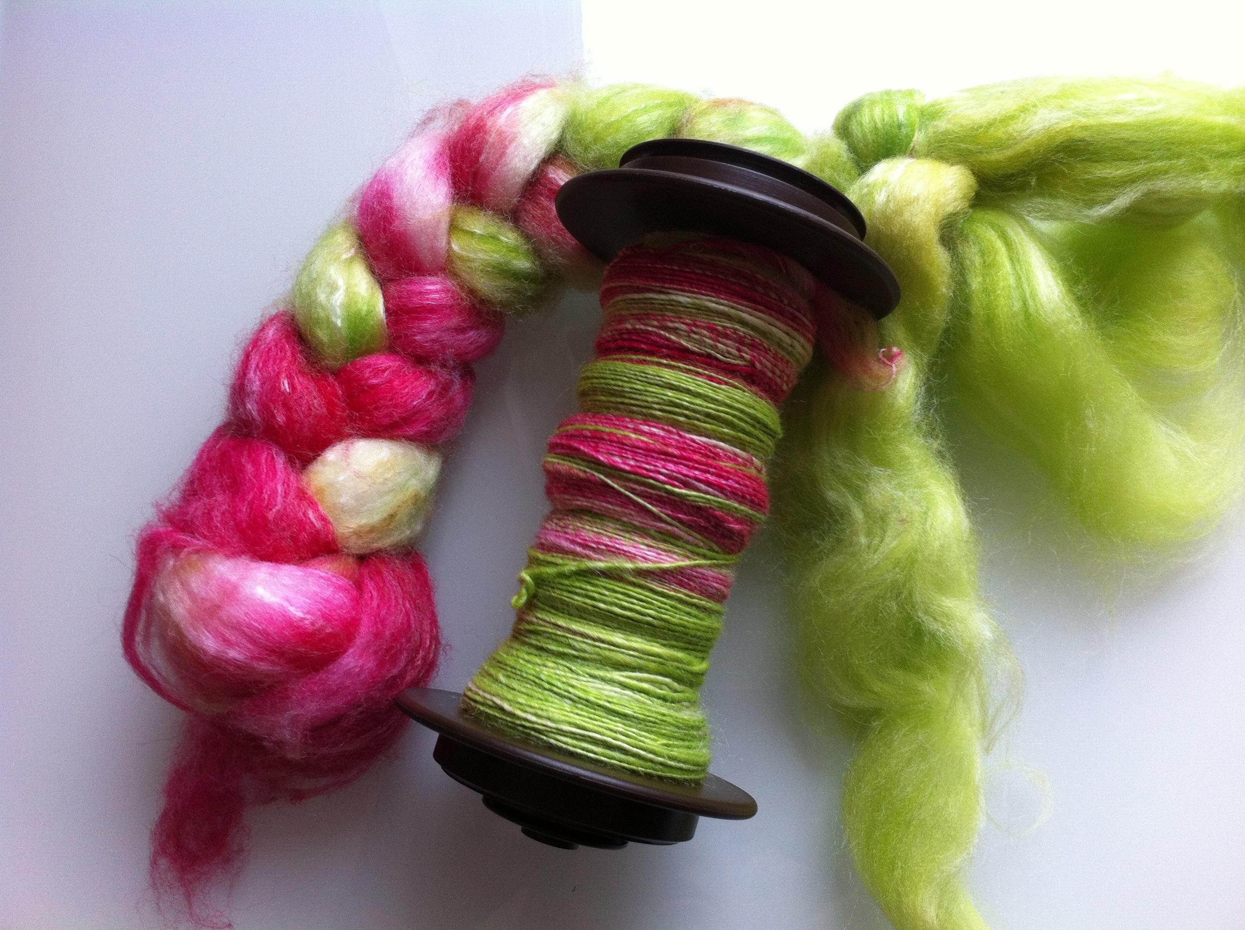 SweetGeorgia yarns Panda fibre in the Snapdragon colourway.